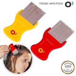 O³ Peigne Poux - 2 Peignes Anti Poux et Lentes - Dents Métalliques Adaptées