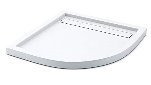 AQUABAD® Duschwanne Comfort Linea Flat 90x90cm Viertelkreis inkl. Viega Domoplex Ablauf senkrecht
