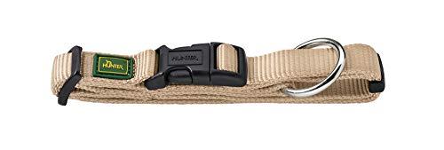 HUNTER VARIO PLUS Hundehalsung, Hundehalsband, Zugentlastung, robust, geschmeidig, Klickverschluss, M-L/2,0, beige