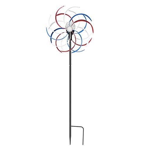 Kacsoo Induzione automatica ferro solare windcraft Girandole solari a LED Turbina eolica a due vie 78 pollici di altezza Display a LED a 6 colori per terrazza prato e giardino
