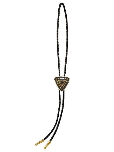Sunrise Outlet Men's Western Bolo Tie Gold Tone Plated Special Triangular with Black Leatherette - 18 inch hang