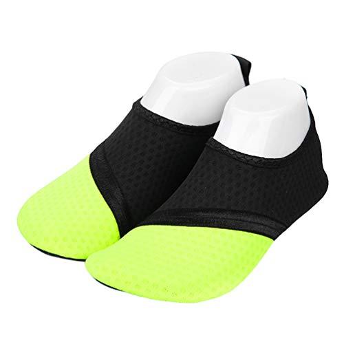 LIOOBO 1 par de Zapatos de Calcetines de Playa Zapatos de Agua de Secado Rápido Calcetines de Yoga Descalzos Transpirables para Practicar Surf Piscina de Yoga Tamaño 36/37 (Amarillo)