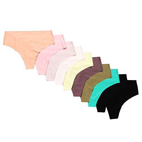 Alyce Intimates Women's Laser Cut No Show High Waisted Thong, Assorted Color, Small, Pack of 10