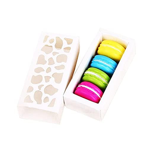 10 x weiße Hohl-Macaron-Box für Kekse und Kuchen für Schokolade, Muffins, Kekse, Luxus-Dekoration, 130 x 60 x 40 mm