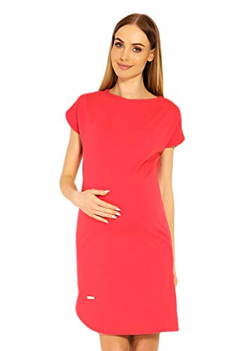 Selente Mummy Love 1629c modisches Umstandskleid (Made in EU) Schwangerschaftskleid Umstands-Freizeitkleid, Asymetrisch Koralle, Gr. S/M