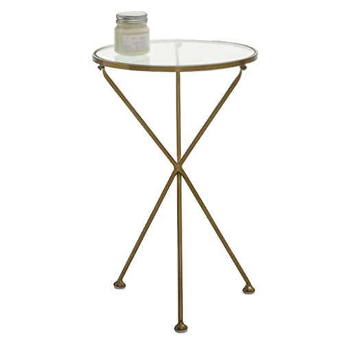 Decoratieve Flower Stand, glazen tafelblad smeedijzer Little Round Table Living Room Corner Slaapkamer Balkon Kleine End Table (Color : A, Size : 40 * 40 * 62CM)