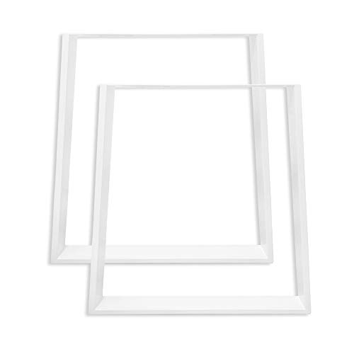 Aufun Estructura de mesa de metal, juego de 2 patas de mesa, pie para muebles, DIY mesa de comedor, forma trapezoidal, forma en X, rectangular, estructura para mesa de centro, comedor, negro, Blanco