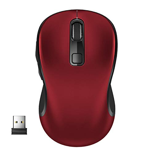 Wireless Mouse, WisFox 2.4G Wireless Mouse Laptop Mouse Computer Mouse USB Mouse Non-Slip Ergonomic Mouse 6 Buttons with Nano Receiver 3 Adjustable DPI Levels Wireless Mice for Windows, Mac (Red)