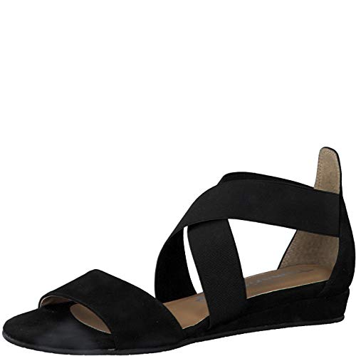 Tamaris Damen Sandalen 28138-24, Frauen Keilsandalen, weibliche Ladies feminin elegant Women's Woman Freizeit leger,Black Uni,41 EU / 7.5 UK