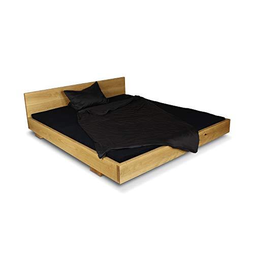 GREENHAUS Massivholzbett 140x200 cm Eiche massiv Holz und Handarbeit aus Deutschland Balkenbett Vollholz Bett Bettgestell