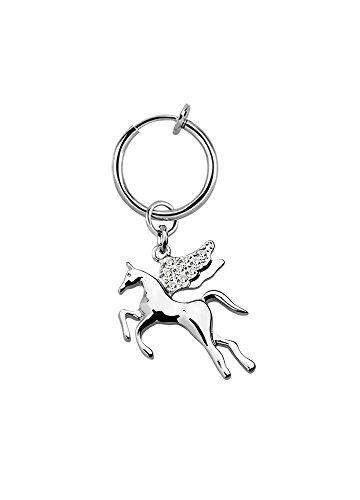 Illusion test navelpiercing paard vleugel fake clip dames klem zilver Ø 13mm