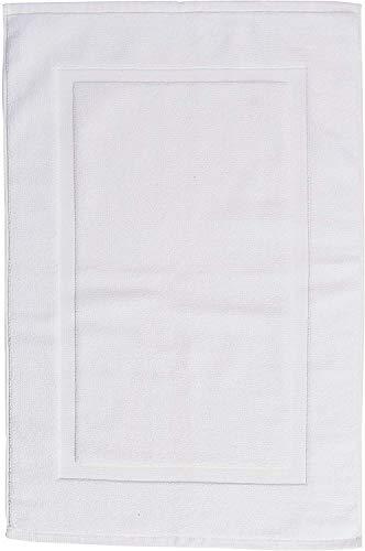 AmazonBasics - Tappetino per il bagno, con fascia decorativa, colore: bianco