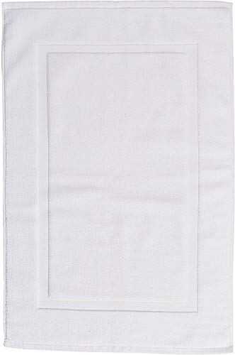 AmazonBasics Banded Bathroom Bath Rug Mat - 20 x 31 Inch, White