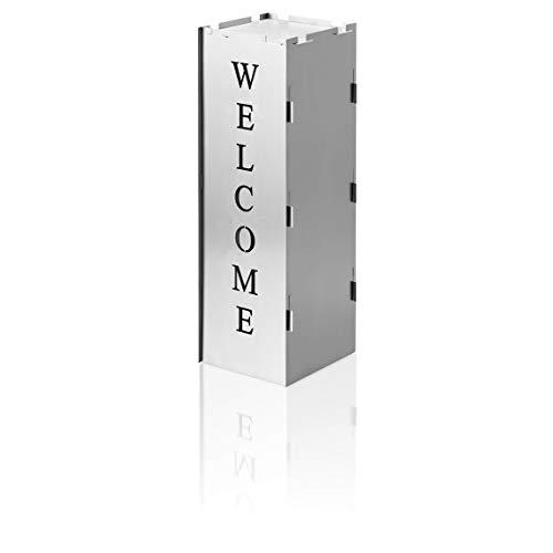 AMARE Columna Decorativa Welcome, Chapa de Acero DC01, Plata, 25,5 cm
