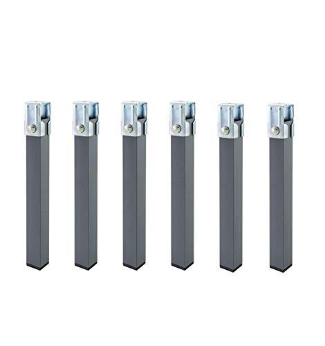 Duérmete Online Juego de 6 Patas cuadradas con Abrazadera para Somier de 30x30mm, Altura 27cm, Gris, 27 cm