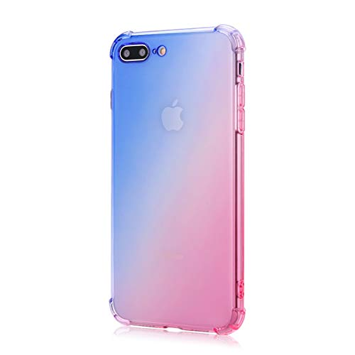 Oihxse Cristal Coque Compatible pour Samsung Galaxy A60/M40 Case Dégradé Transparente Coussin d'Air Silicone Souple Protection Housse Ultra Mince Antichoc Protection Etui Bumper Cover (Bleu Rose)