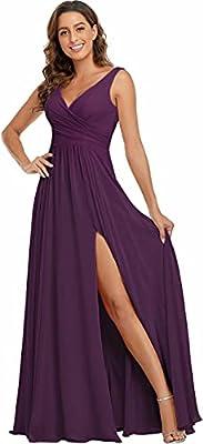 V Neck Split Bridesmaid Dresses Grape Slit Chiffon Prom Dresses 2021 Long Sleeveless Floor Length Size 16