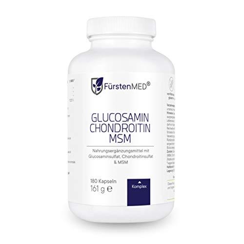 FürstenMED® Glucosamin + Chondroitin + MSM Kapseln - Hochdosierter Komplex - 180 Kapseln ohne Zusatzstoffe aus Deutschland - vollständig laborgeprüft
