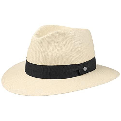 LIERYS The Sophisticated Panamahut Damen/Herren - Handmade in Ecuador - Panamastrohhut - Strohhut aus Panamastroh - Sommerhut mit Ripsband Natur-schwarz L (59-60 cm)