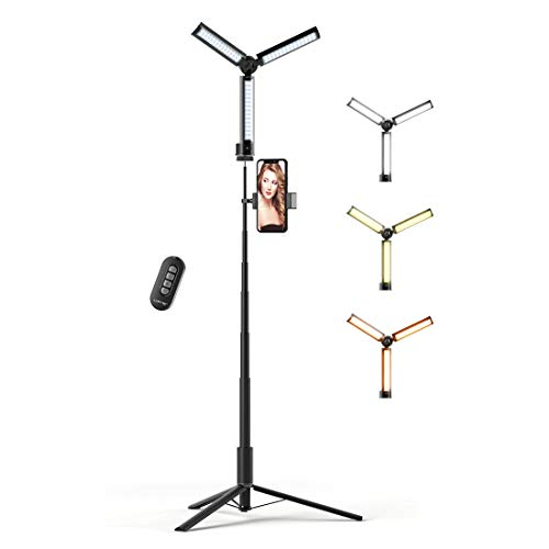 """LOFTER 12"""" Selfie Light Portable Foldable with Tripod Set, Built-in Rechargeable Battery, Cordless, Dimmable Desktop LED Circle Light for Live Streaming/Makeup/YouTube Video/TikTok/Photography"""
