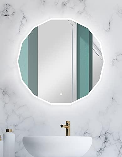 Talos Pure 80 x 78 cm - Badspiegel in Polygonform mit hinterleuchteter Beleuchtung mit Raumlichteffekt - Designspiegel mit beleuchteten Sensorschalter