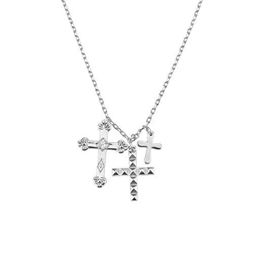 mingtian Invierno 925 Plata esterlina Oro Tres Cruces Colgante Encanto Collar de Cadena Larga 2021 joyería Fina de Moda 2021 Regalo 18