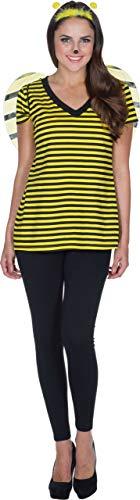 Rubie's V-Shirt Biene schwarz gelb gestreift Damen Karneval Dortmund Hummel Insekt Kostüm