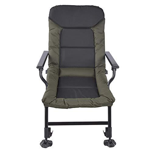 Dioche - Silla de pesca para carpa, multifuncional de 0 ~ 180 ° ajustable, para actividades al aire libre, silla de pesca, plegable y segura para dormir, para pesca, camping, senderismo