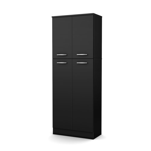 South Shore, Pure Black 4-Door Storage Pantry with Adjustable Shelves