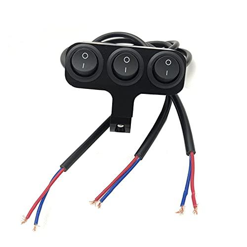 ffniwo KKKKKK Cambio de Manillar de la Motocicleta Universal de la aleación de Aluminio de 22 cm Three Presione Dos proyectores de Faros de Engranajes (Color : Black Switch)