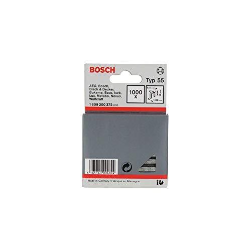 Bosch 1 609 200 372 - Grapa de lomo estrecho tipo 55, 6 x 1,08 x 16 mm, pack de 1000