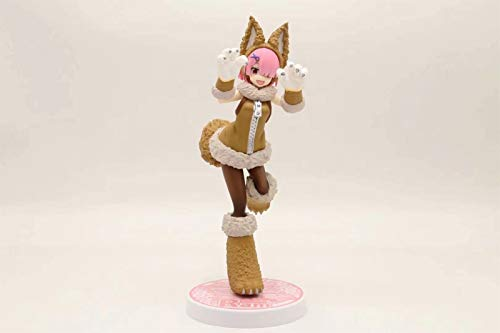 Darenbp Anime Figure Re Cero REM Figurine Loli Action Toy Toy Girl Figura con Gato Cosplay Disfraz Figura de accin PVC Modelo Hecho A Mano Juguetes Coleccionables Juguete Juguete Boxado 20cm