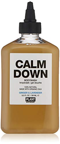 PLANT Apothecary Calm Down Botanical Aromatherapy Body Wash - USDA Organic Ginger & Lavender Essential Oils - For Unisex - 9.5 oz Body Wash