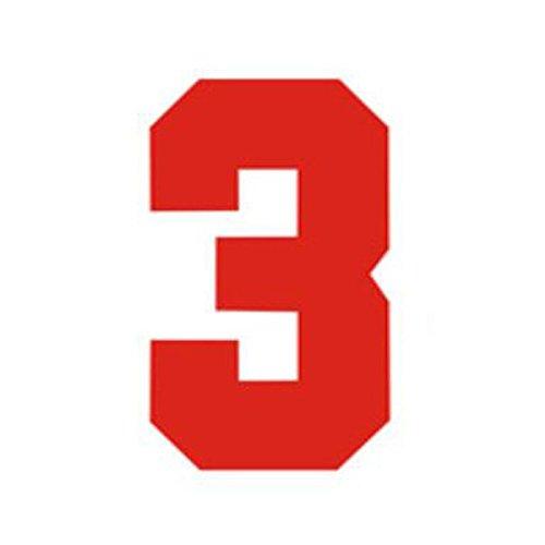Zahlen Bügelbild für Fußball Baseball Trikot Sport T-Shirt Solid Schriftart Rot, Zahl-3, L(9