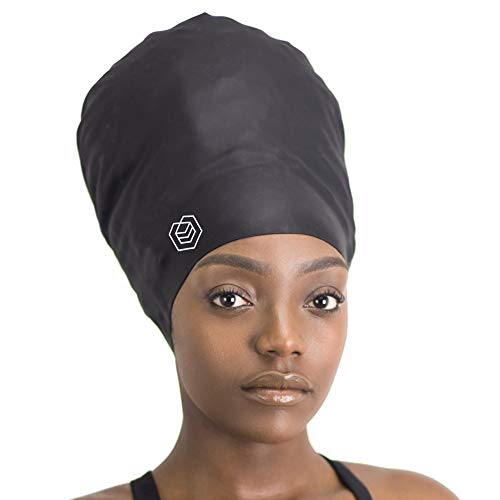 SOUL CAP XXL – Extra Extra Large Swimming Cap - Designed for Long Hair, Dreadlocks, Weaves, Hair Extensions, Braids, Curls & Afros - Women & Men - Premium Silicone (Black)