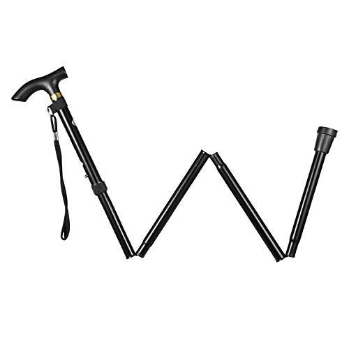 Folding Walking Cane, Adjustable Collapsible Cane,Foldable Walking Cane for Men,Women,Lightweight,Adjustable,Portable Hand Walking Stick - Ergonomic Handle