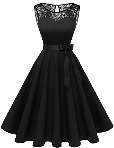 bbonlinedress 1950er Ärmellos Vintage Retro Spitzenkleid Rundhals Abendkleid Black S
