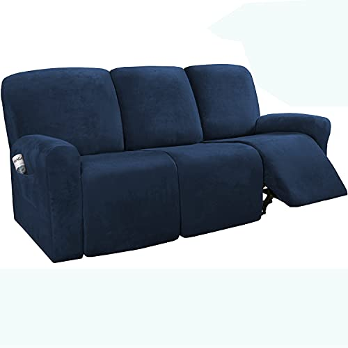 8 piezas de fundas reclinables de terciopelo de 3 plazas, fundas de sofá reclinables seccionales, fundas de sofá antideslizantes (azul marino)