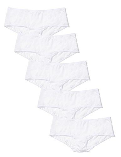 Amazon-Marke: Iris & Lilly Damen-Hipster aus Mikrofaser, 5er-Pack, Weiß (Weiß), L, Label: L