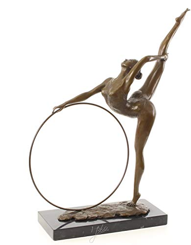 Decoratie Bronzefigur Skulptur Statue Tänzerin Hula Hoop 57 cm Marmorsockel