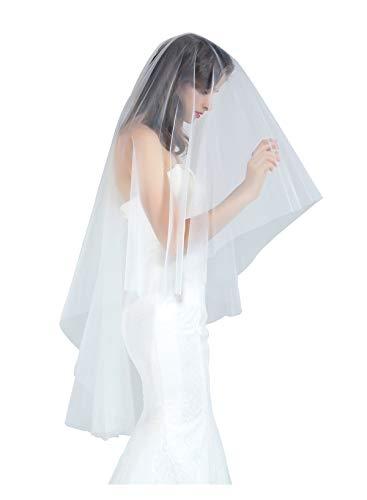 BEAUTELICATE Brautschleier Schleier Schnittkante Für Braut Hochzeit 2 Schicht Softtüll Weiß Elfenbein Knie Kapelle Länge Mit Metall Kamm