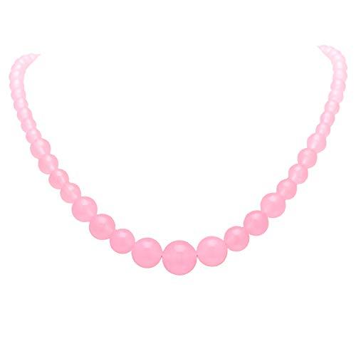 Paialco Collar graduado para mujer, cuentas de calcedonia rosa pálido, 6 – 14 mm, hilo pulido redondo, 19.5 pulgadas
