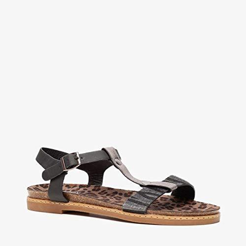 Blue Box dames sandalen met dierenprint - Zwart