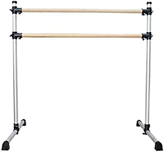 UMEKEN Wood Ballet Barre 4 Foot Aluminum Height Adjustable Light Weight Portable Double Freestanding Ballet Fitness Stretc...