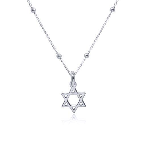 WANDA PLATA Collar con Colgante Estrella de David para Mujer, Chica Joven Plata de Ley 925, Gargantilla, Choker, Mini en Caja de Regalo