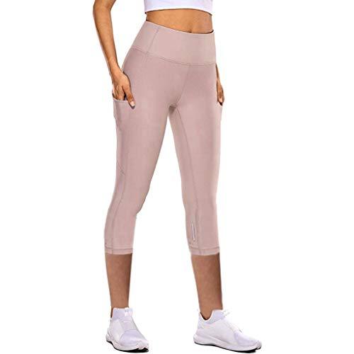 Andouy Damen Leggings High Waist Sporthose Yogahosen Yoga Capris Dreiviertel-Hosen mit Taschen(XS.Rosa)