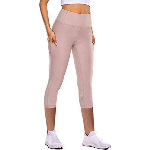 Andouy Damen Leggings High Waist Sporthose Yogahosen Yoga Capris Dreiviertel-Hosen mit Taschen(XL.Rosa)