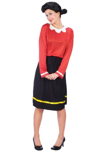 FunWorld Women's Olive Oyl Costume Size 10-14, Black, M/L 10-14