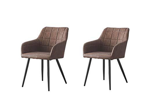 Esszimmerstühle 2er Set mit armlehne Schlafzimmer Stühle Metallbeine,Kunstleder Lounge Sessel, Polsterstuhl mit Armlehnen,Wohnzimmerstühle im nordischen Stil,43.50x55.5x82cm