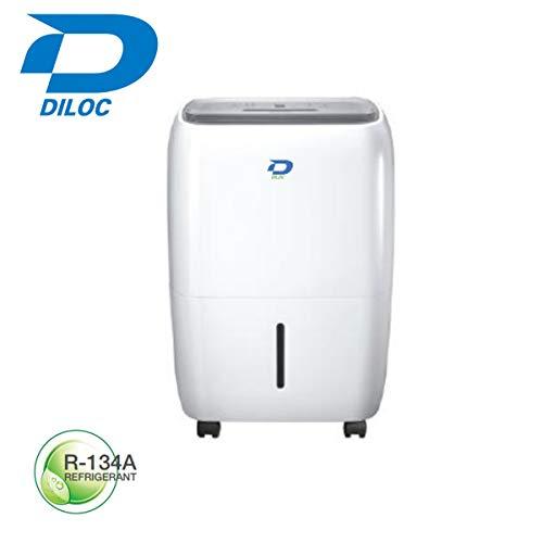 Diloc - Deshumidificador compacto de 22 litros, ruedas de descongelación automática con mando a distancia de gas refrigerante R134A D.22TU